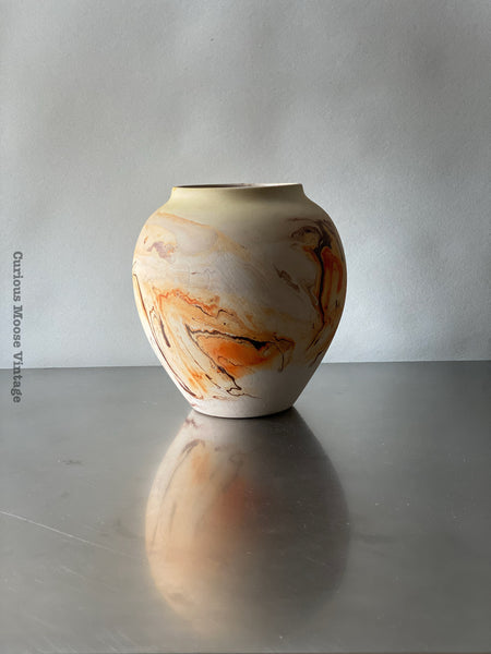 Vintage Large Nemadji Pottery Vase Swirl in Orange and Browns and glazed inside.