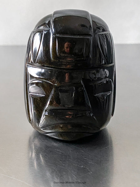 Gold Obsidian Aztec Warrior Head Stone Carving made in the Teotihuacan region of Mexico.