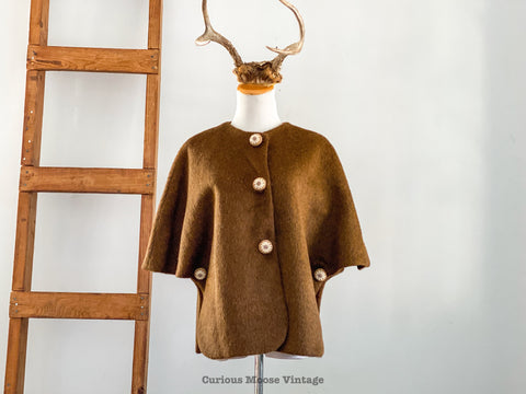 50's King of the Ponchos Country Place Mohair Wool Cape.