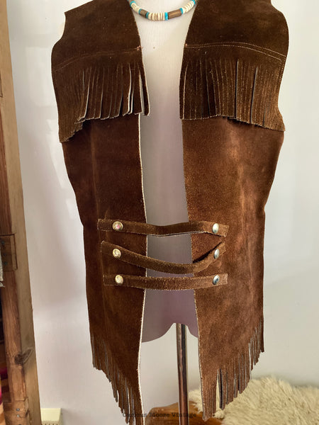 70's Leather Full Grain Suede Fringed Brown Vest Unisex.