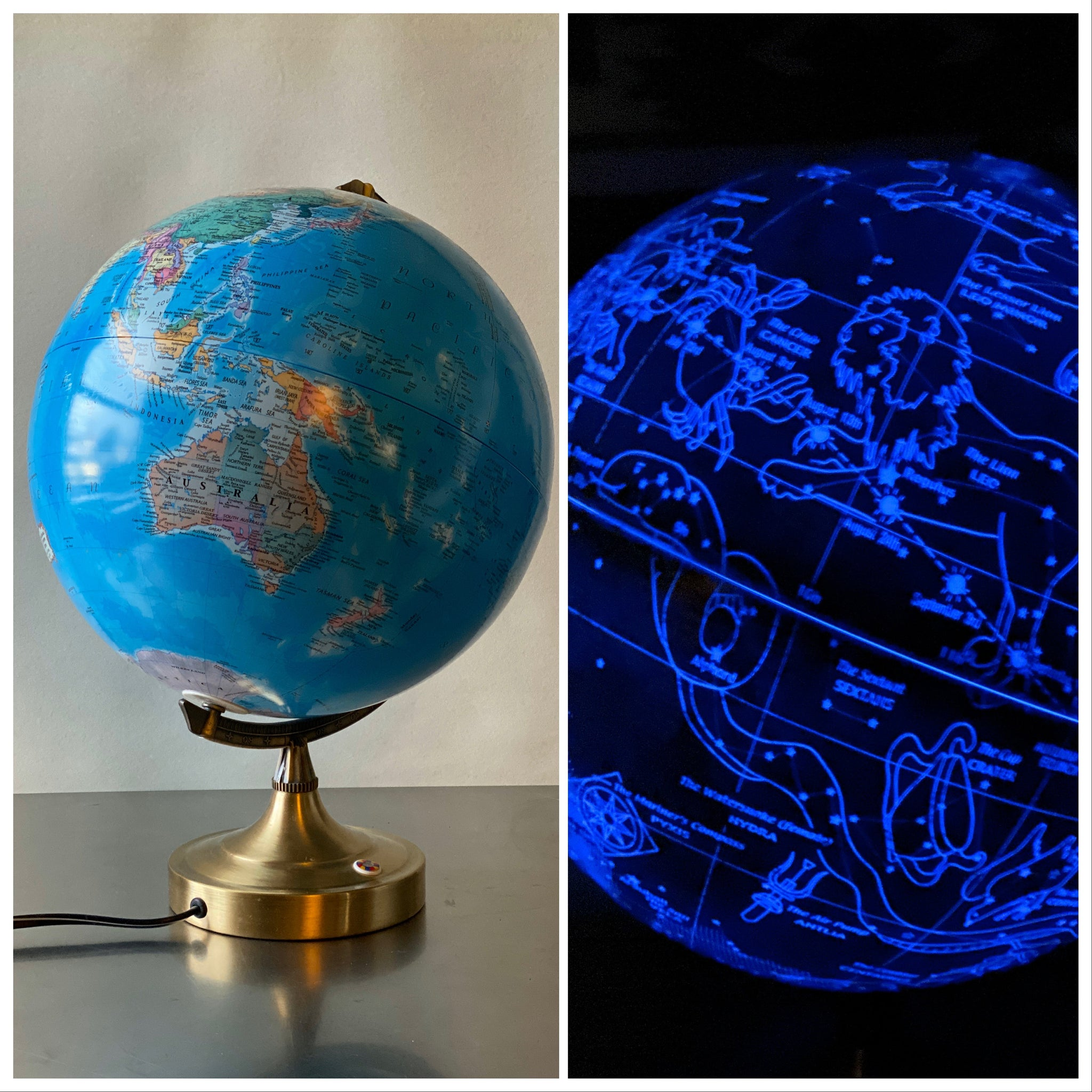 Vintage Illuminating World Globe that Lights up the Constellations made in Korea.