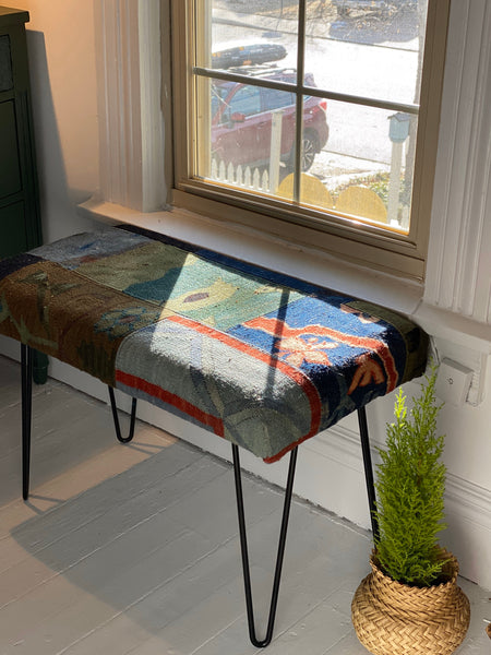 "Kilim Bench With HairPin Legs 30"" L x 16""W x 20""H."