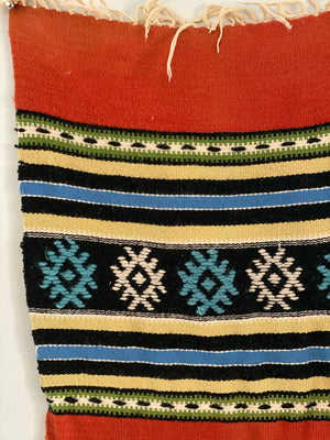Mid Century Scandinavian Audhild Vikens Vevstove Wool Embroidered Weaving in Teal Blue, Gold Brown, and Deep Pinks.