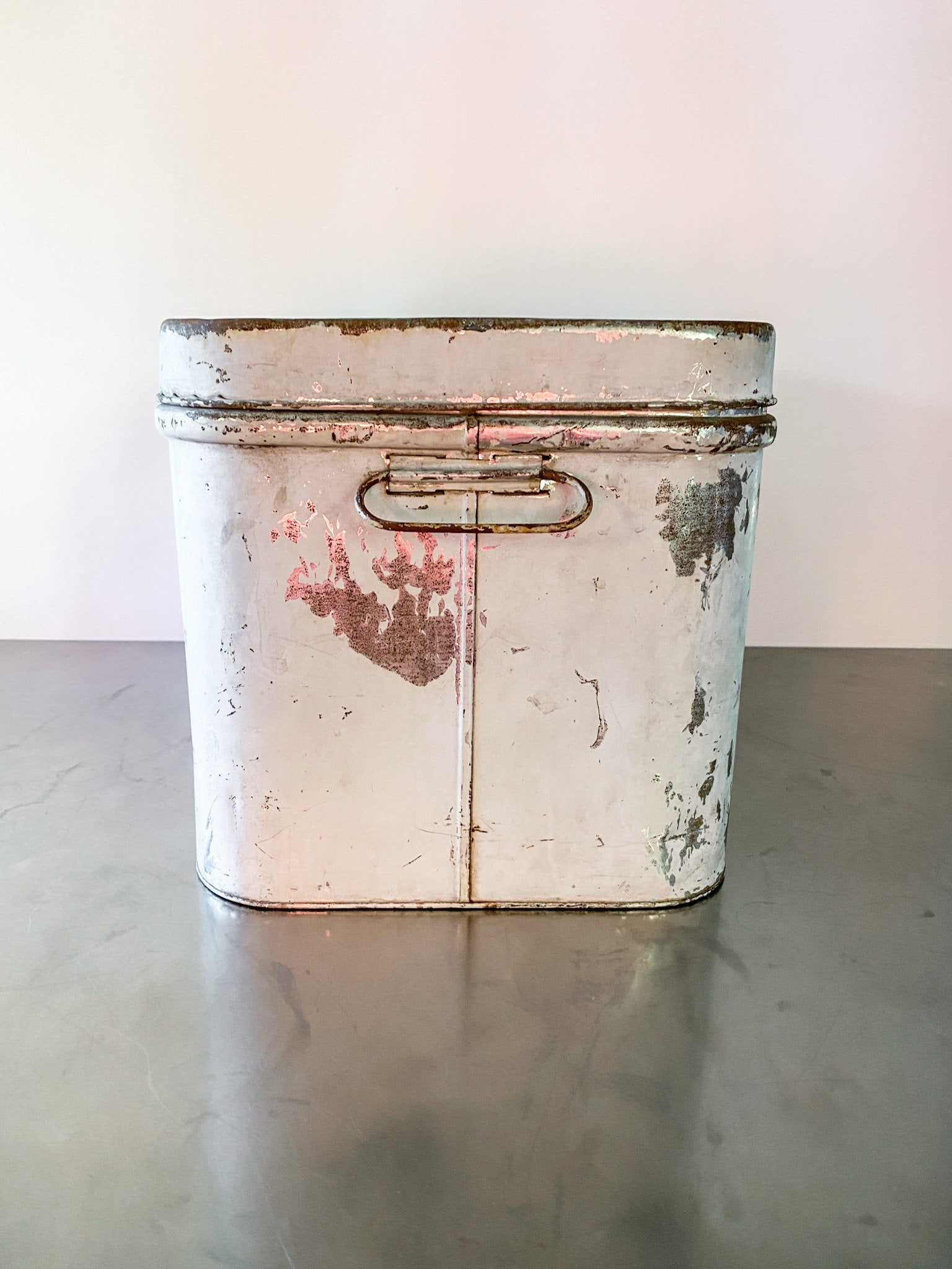 Vintage Gray Tin Bread Box.