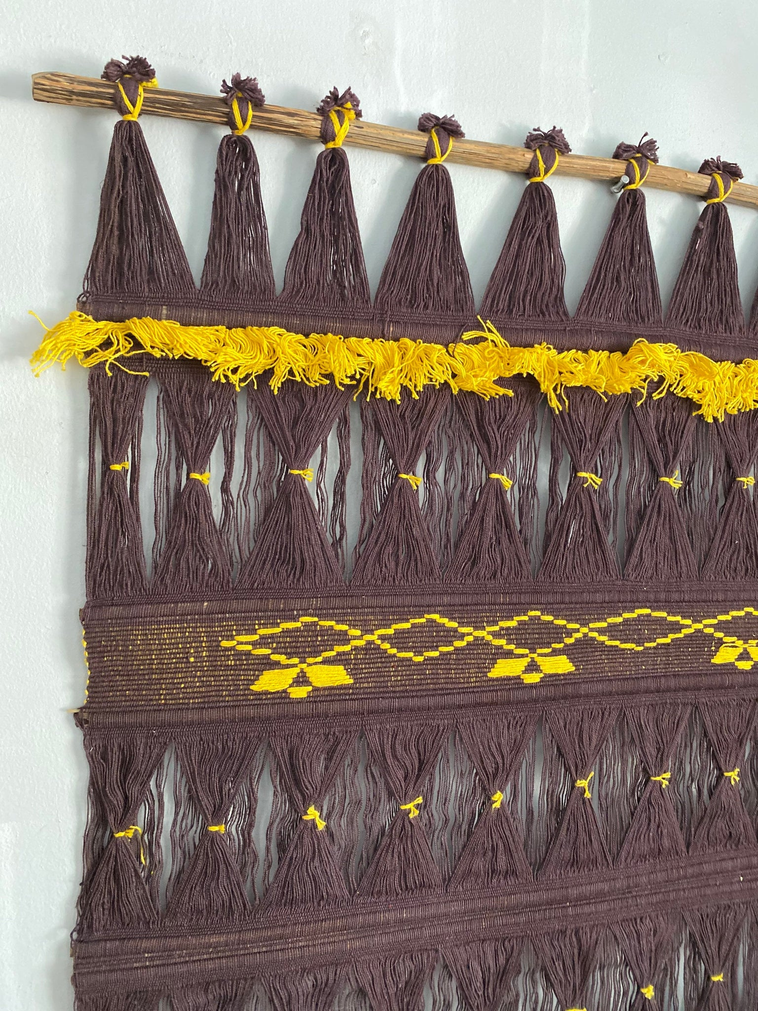 70's Traditional COLOMBIAN WALL HANGING woven folk art tapestry weaving.