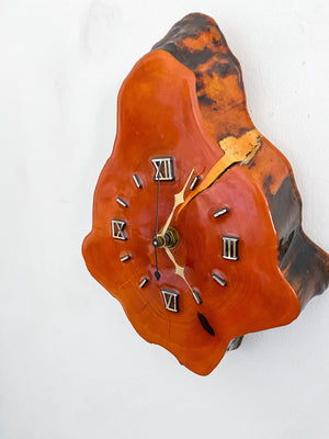 Mid Century Cypress Live Edge Wood Wall Clock
