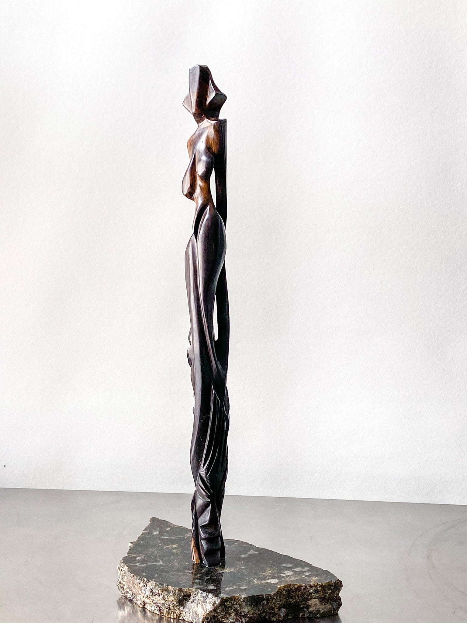 Expressionist Coromandel Wood Sculpture of a Nude  Naked Woman.