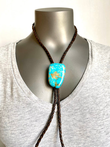 60's Native American Slab Turquoise Bennett Clasp with sterling tips Bolo.
