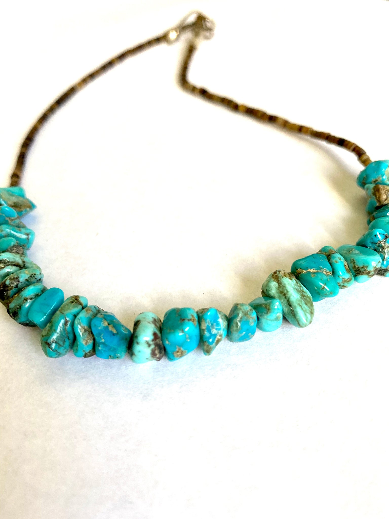 Chunky Turquoise Nugget  Choker Necklace with Penshell Heshi .