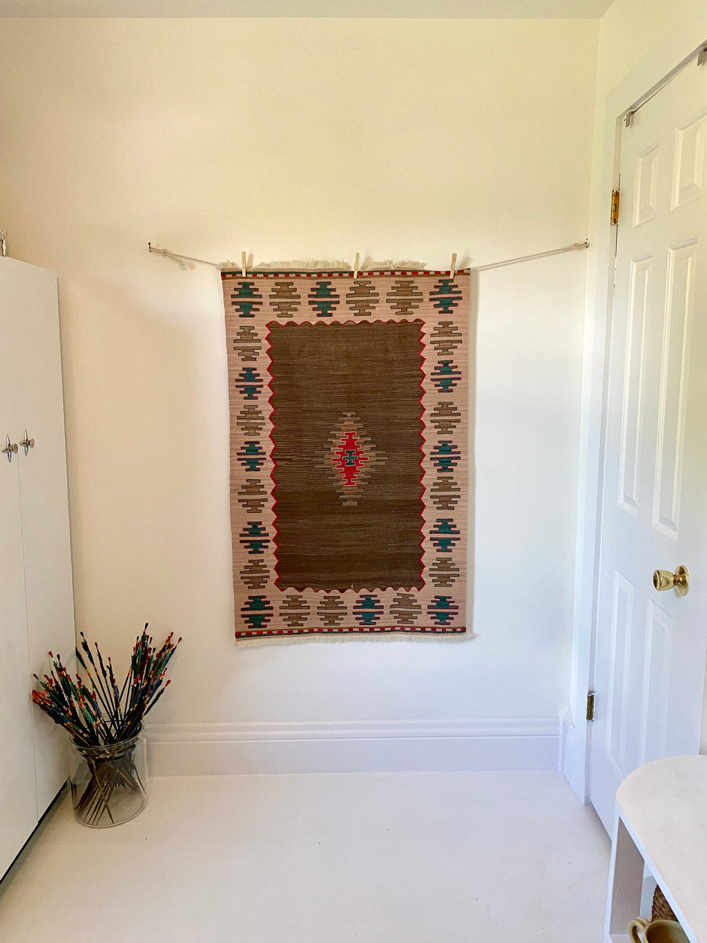 Vintage Kilim Tight Weave and Fine Wool in Browns, Teal, and Pink.