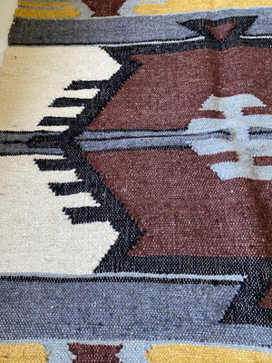 Vintage Primitive Design Wool Rug