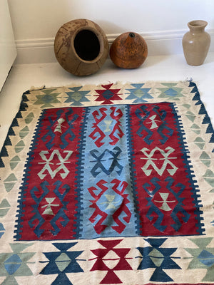 Anatolian Turkish Kilim Area Wool Rug.