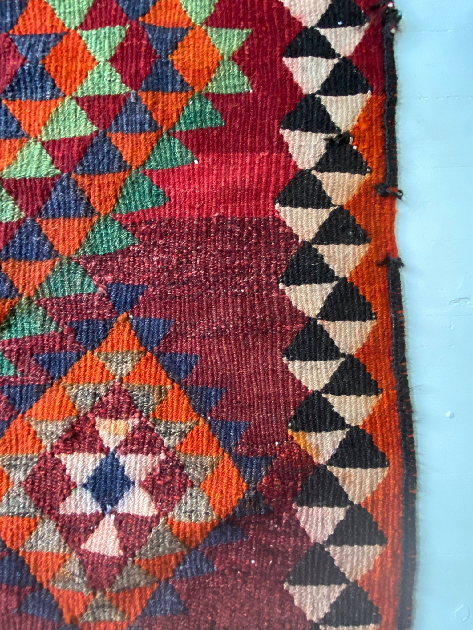 Turkish Kilim Area Wool Rug.