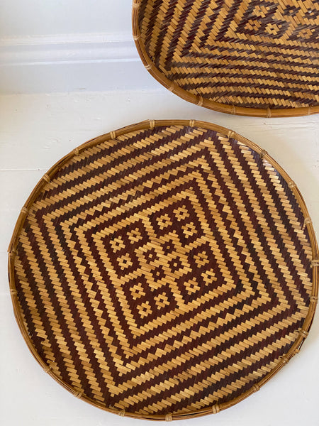 Large Flat Winnowing Asian Baskets