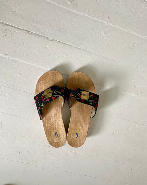 Vintage Italian Dr. Scholl's Navy Blue With Cherries Wooden Sandals.