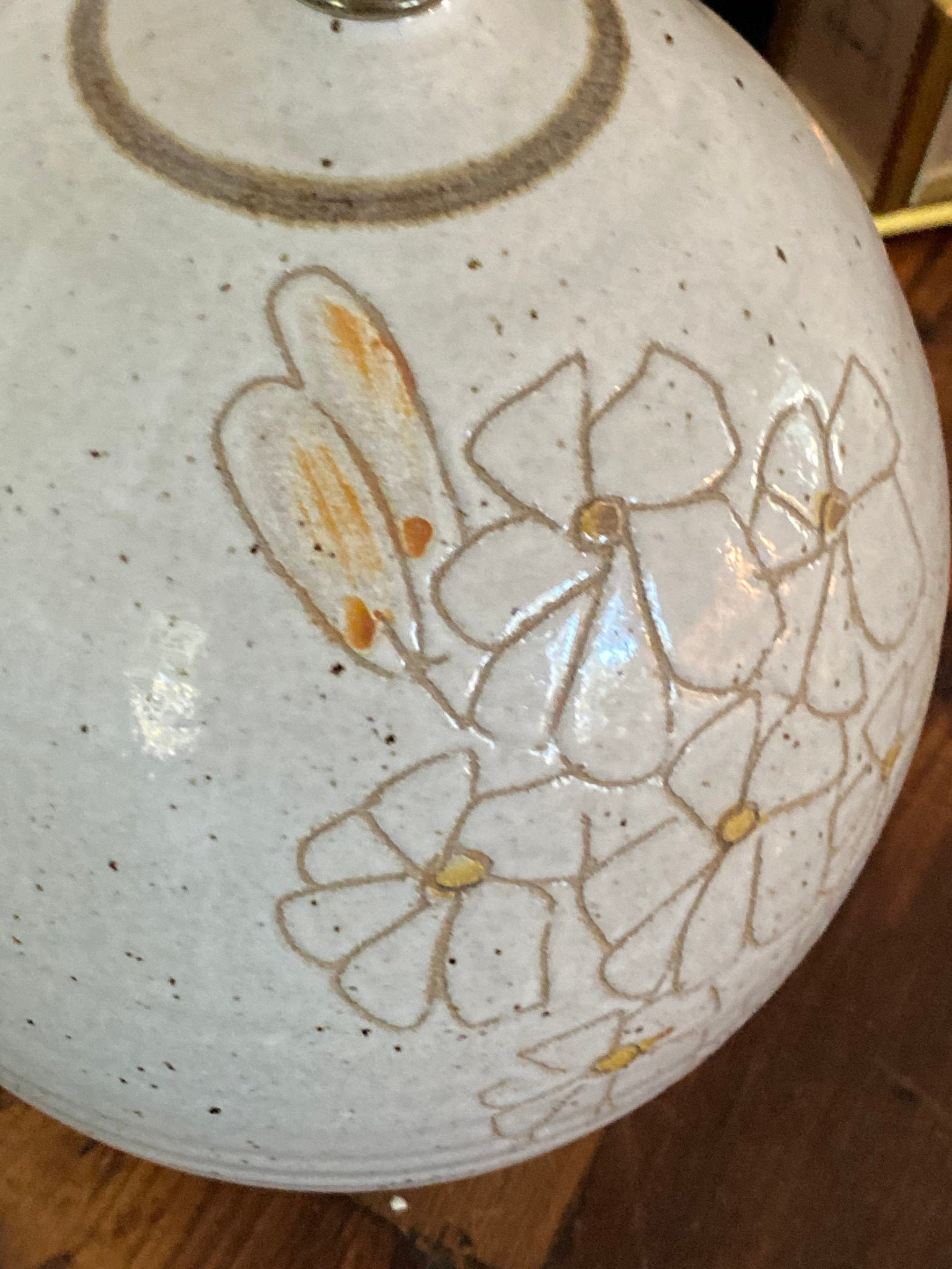 70's Studio Hand Thrown  Pottery Floral Table Lamp