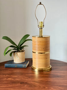 Gabriella Crespi Style Pencil Reed and Brass Table Lamp