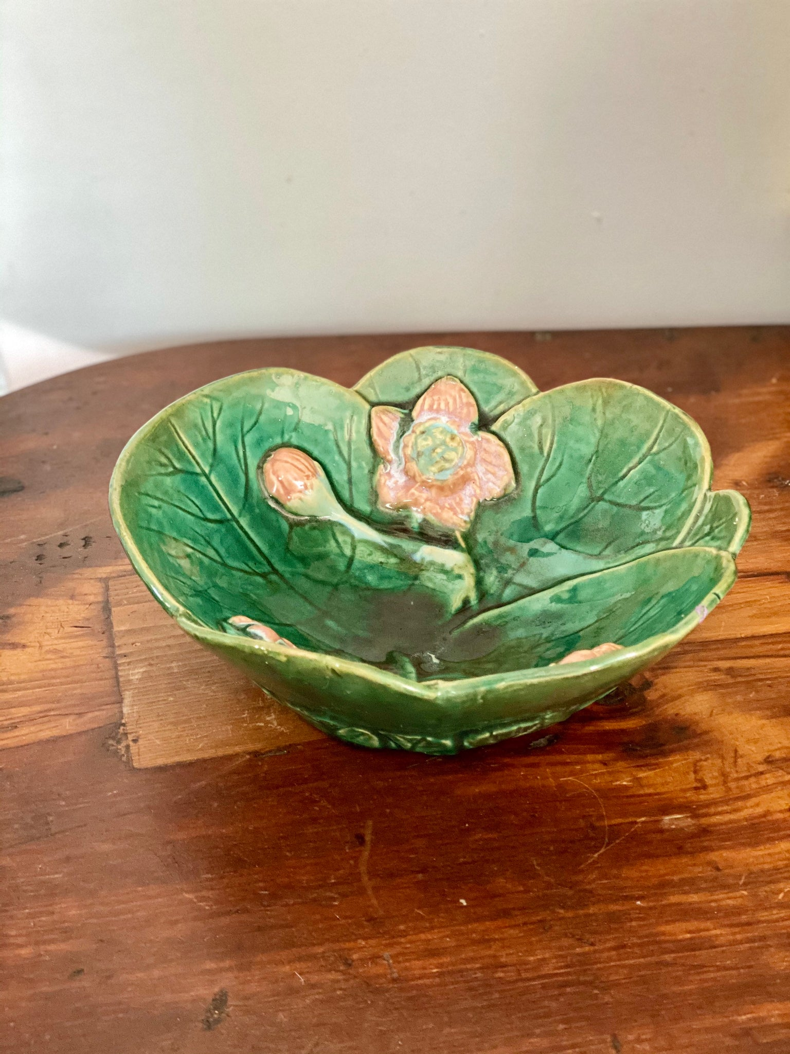 Antique Majolica Water Lily Bowl