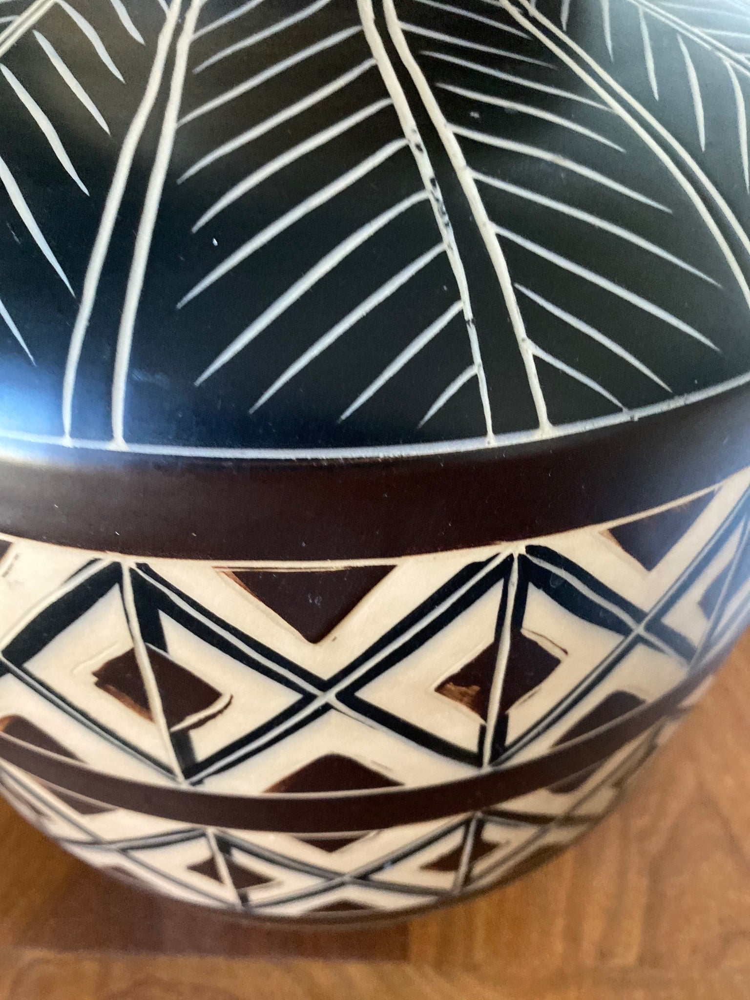1980's Danish Modern Incised Geometric Pottery Lamp (Shade not included)