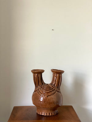Mid Century Brutalist Large Incised Studio Pottery with Double Neck by Liz Gruber