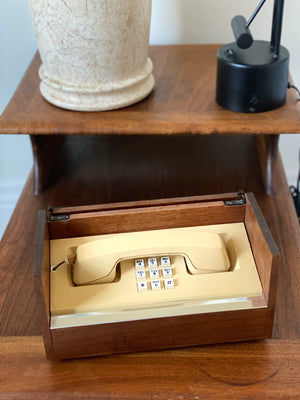 Mid Century Teak Wood Western Electric Phone in a Box push button.