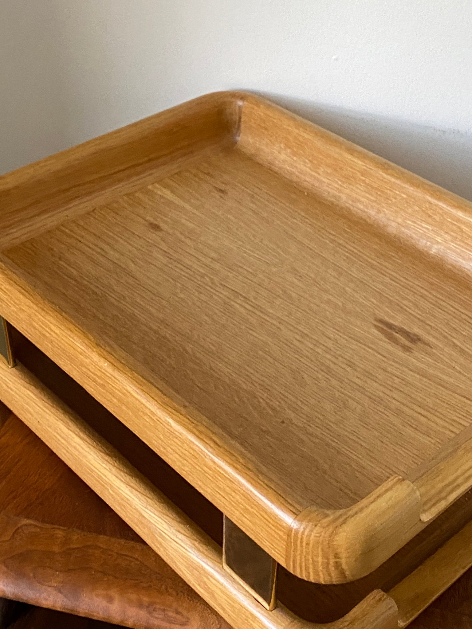 80's Solid Oak with Gold sides Paper Organizer By Eldin Woodline 6500