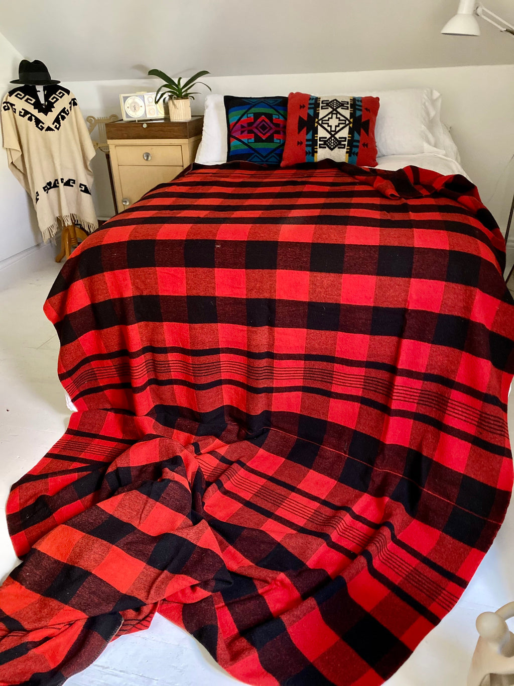 50's Buffalo Red Plaid Wool Double Length Camp Blanket.