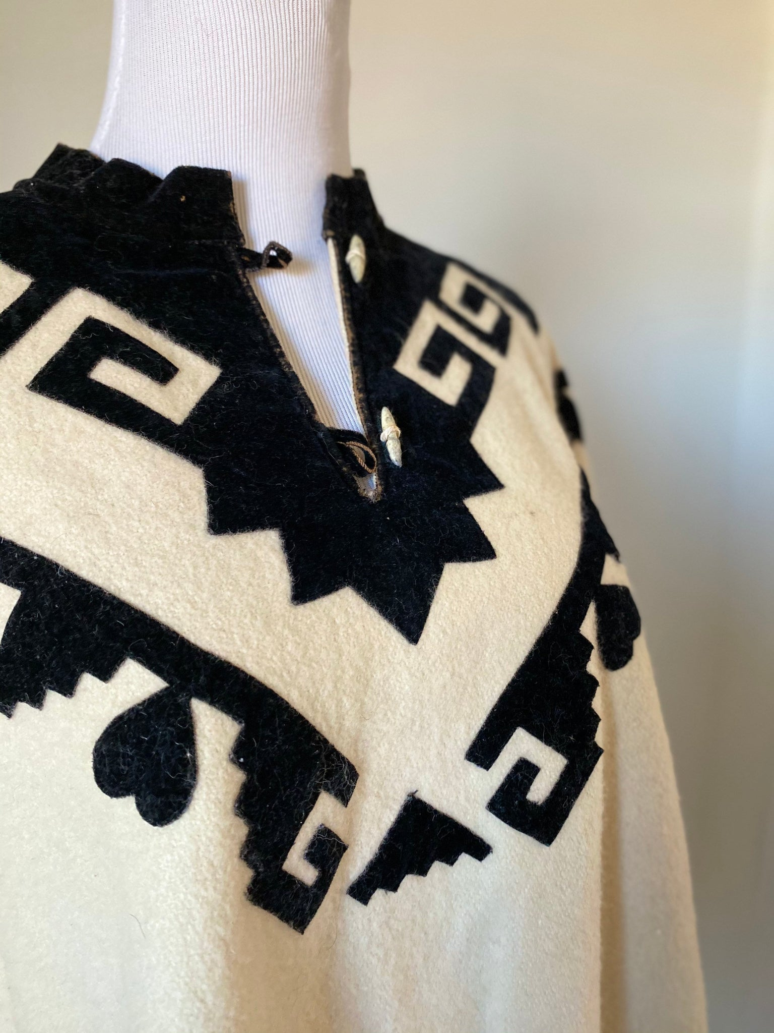 Vintage Mexican Wool Poncho with Black Velvet Collar.