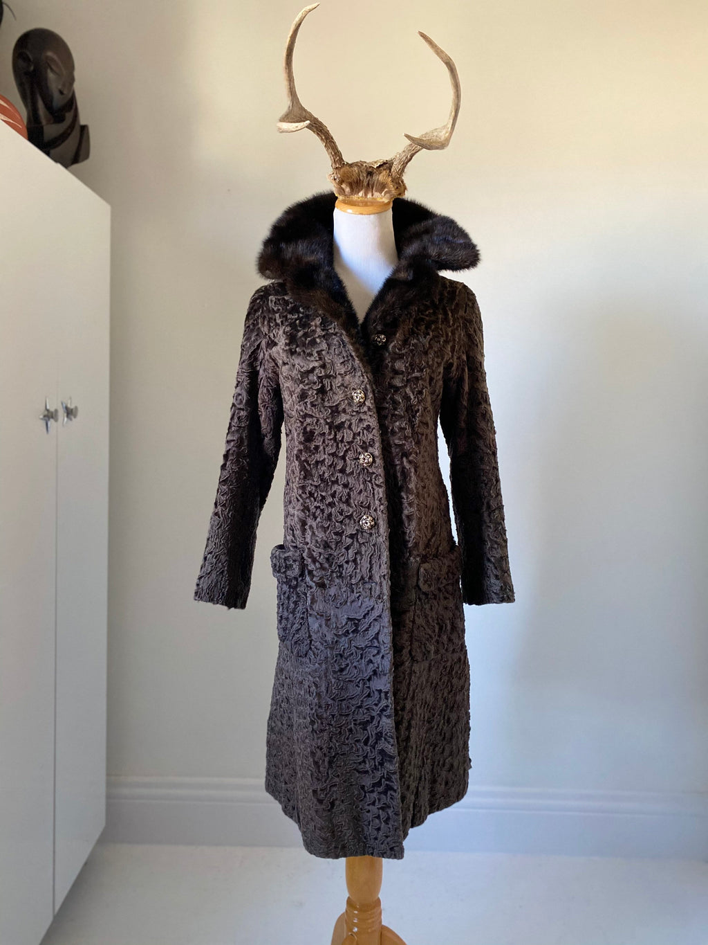 Vintage Black Astrakhan Curly Lamb Coat size XS-S