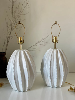 Pair of Plaster Barrel Cactus Lamps by Alsy 1980's