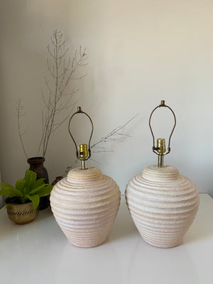 80s Pair of Plaster Peach/white Lamps from Elite 1988