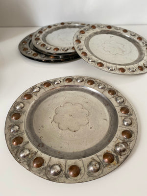 6 Mexican Tin Stamped Plate Chargers