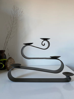 Large Rod Iron Contemporary Ribbon CandleHolder