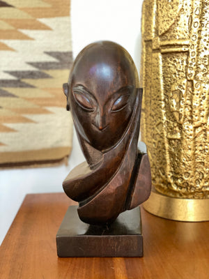 Hand Carved Abstract Mademoiselle Pogany Sculpture After Constantin Brâncusi by Mike Bidlo