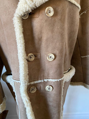 Robert Lewis Sheepskin Shearling double breasted Men's Coat Large