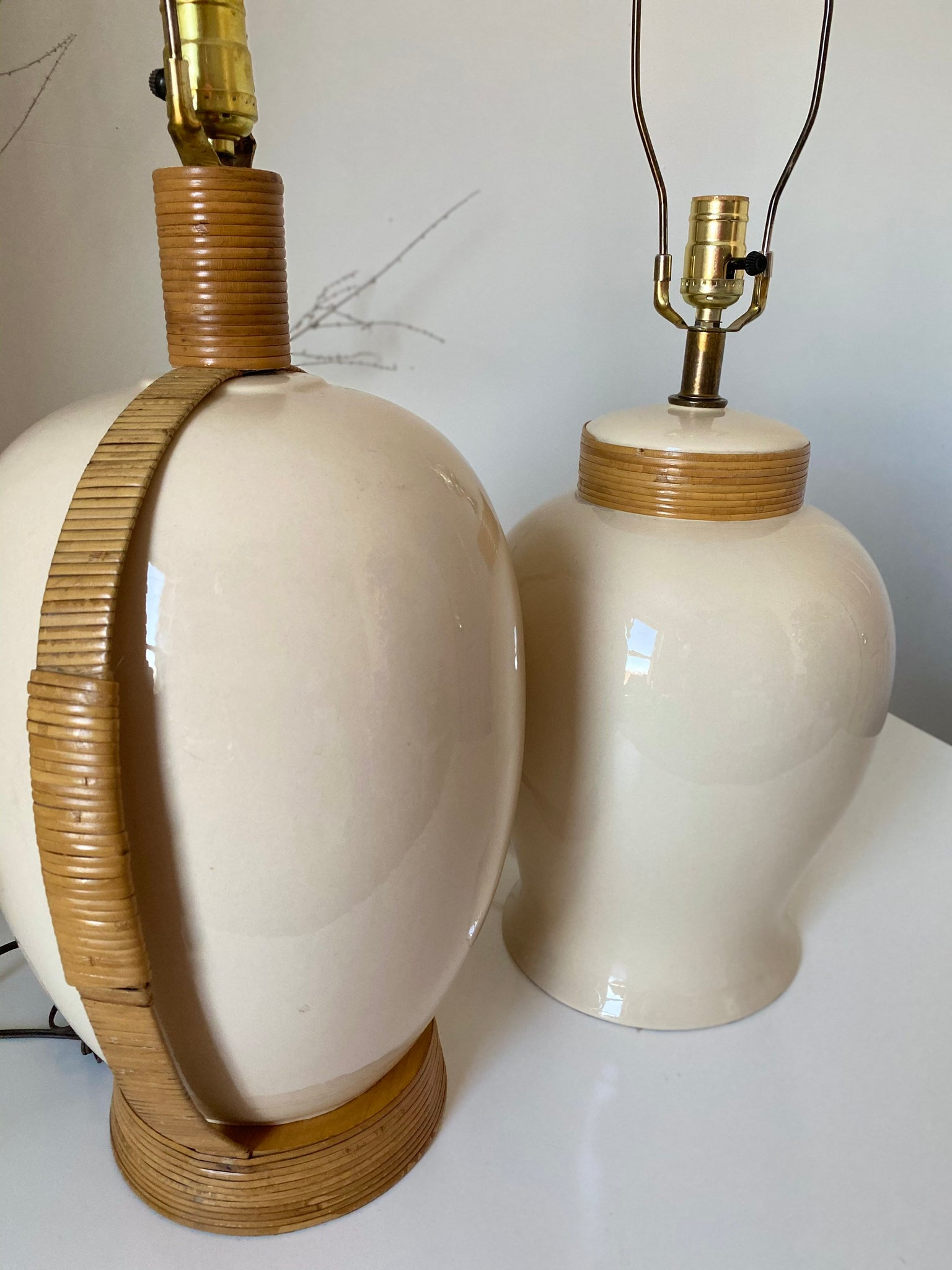 Coordinating Pair of Pencil Reed and Cream Ceramic Lamps
