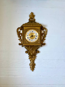 Rococo Style Mid Century New Haven Gold Resin Wall Clock.