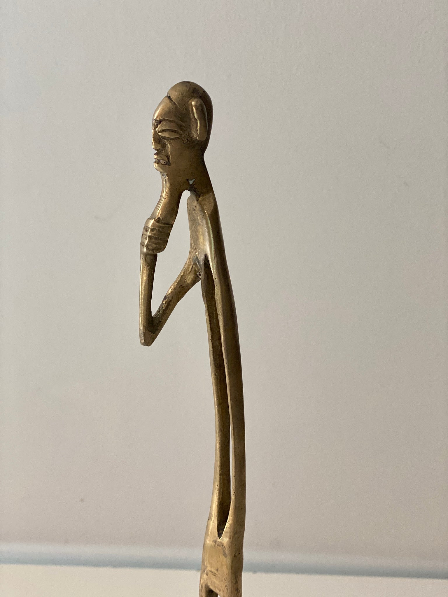 Kenya  Brass Dogon Male Figurine Sculptures  in Giacometti style.
