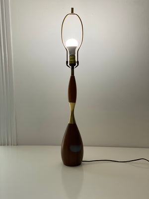 Tony Paul for Westwood bowling pin brass and walnut lamp