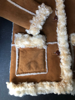 70's Sheepskin Shearling Western Brown Coat with Curly Lamb Collar and Trim.