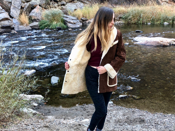 70's Sheepskin Shearling Western Brown Coat.