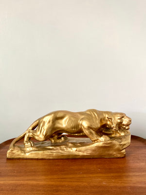 Gold Chalkware art deco style Tiger Panther