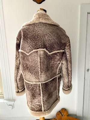 Vintage Caribou Clothes by Lorna Uibel Sheepskin Shearling Bomber Style Men's XL