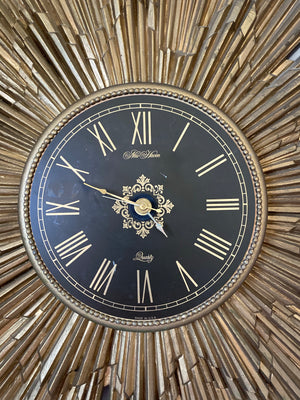 "27"" inch Mid Century Starburst New Haven Gold Resin Wall Clock."