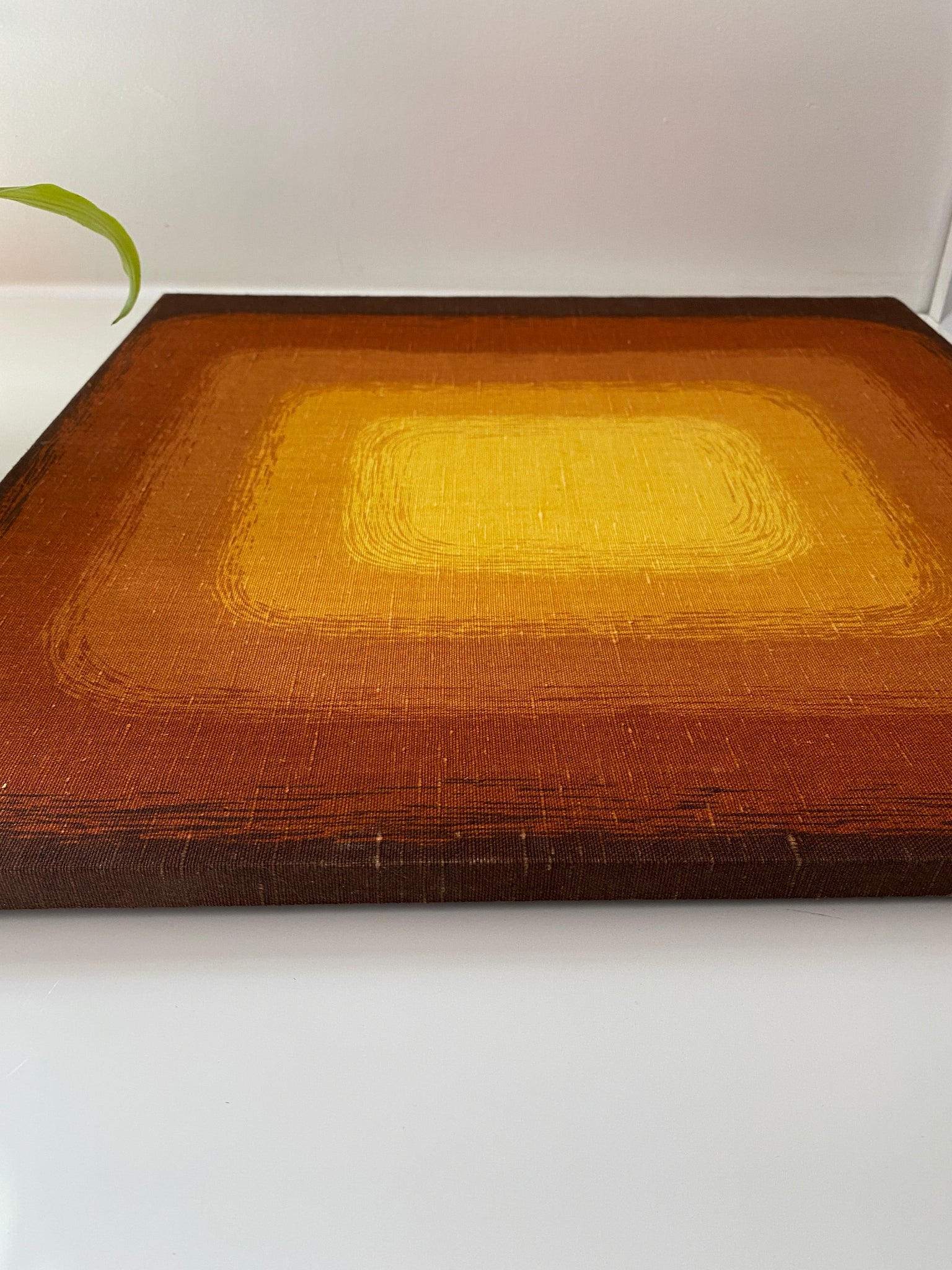 1970's Graphic  Silkscreen-on-Canvas Print in Yellow, Orange, and Brown Set