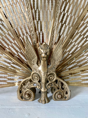 Brass Griffin Peacock Fan Fireplace Screen