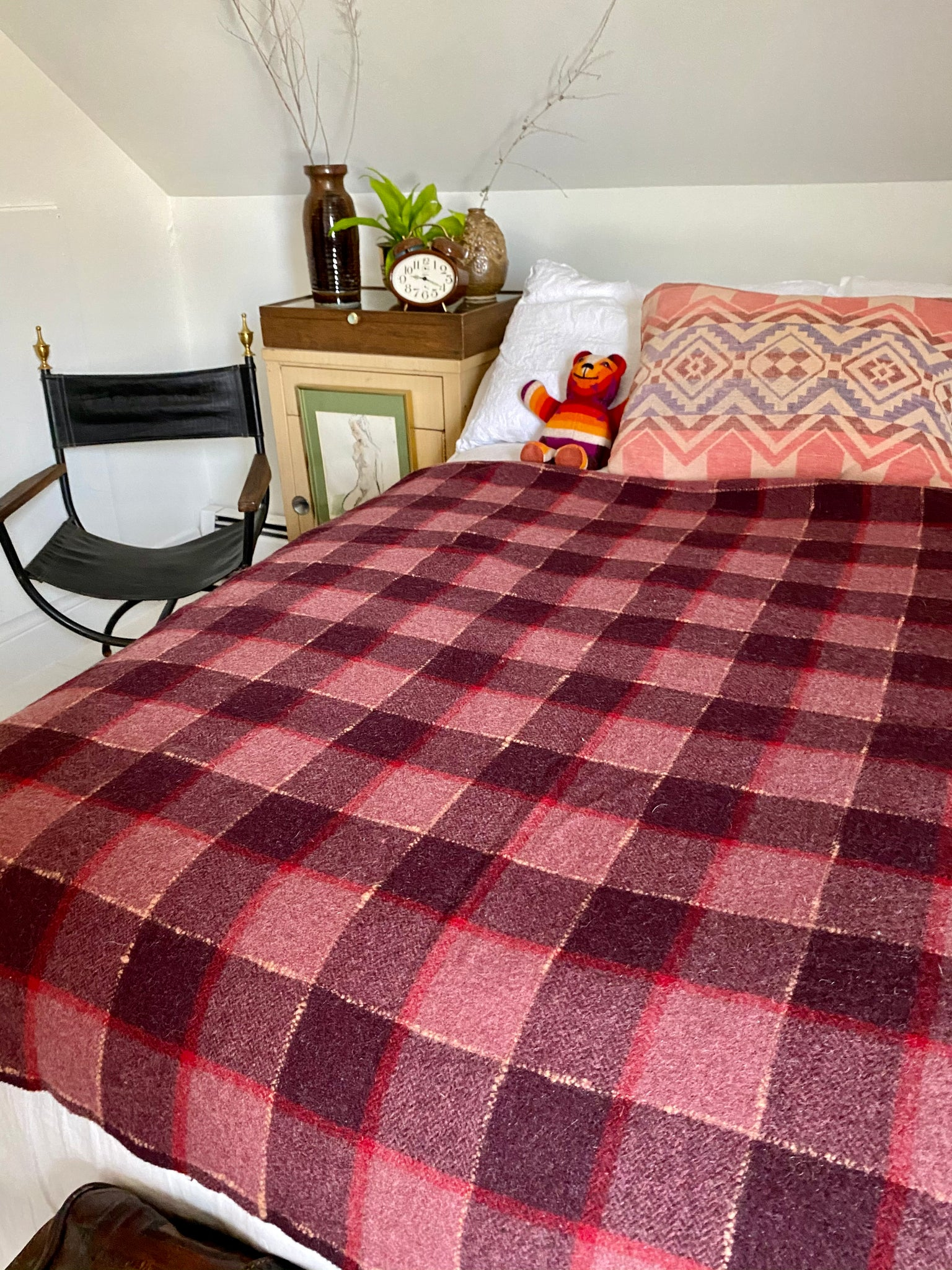 Vintage Dark raspberry Wool Plaid Blanket.