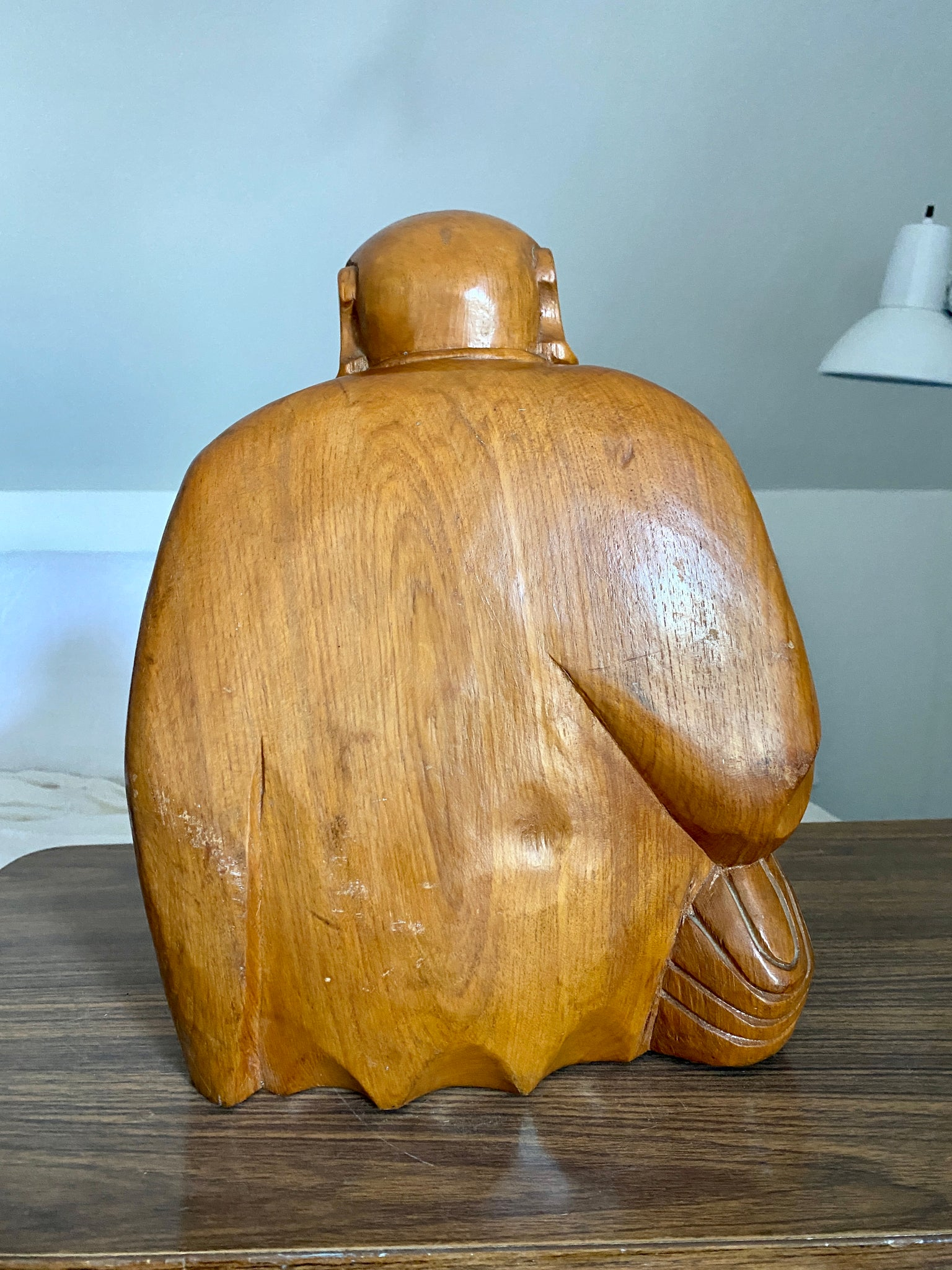 "Happy Fat Buddha Wood Carving Sculpture 13"" inches"
