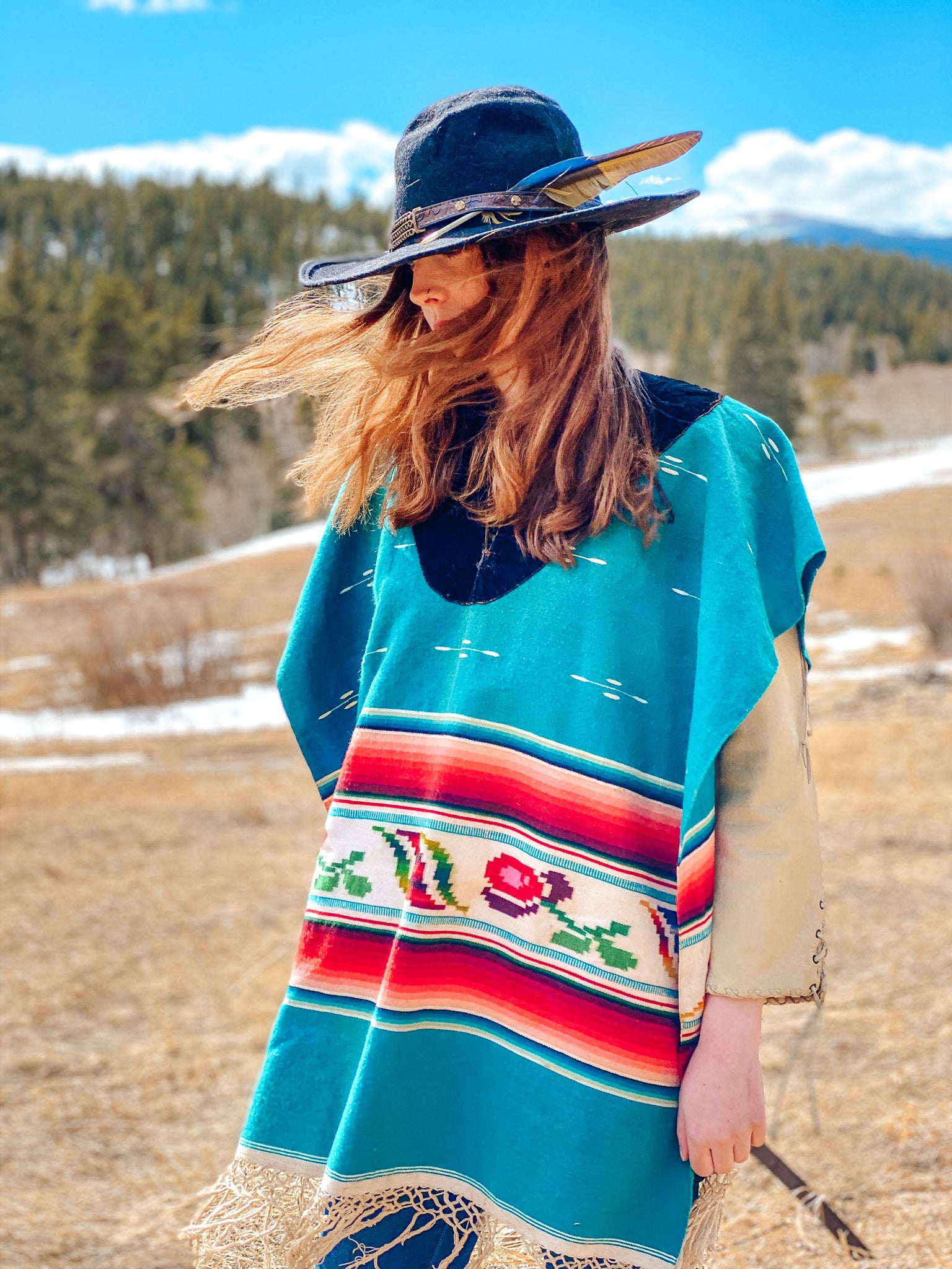 Antique Saltillo Wool Poncho