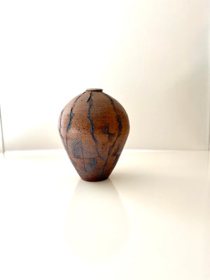 Claire Large Incised Studio Pottery Weed Pot